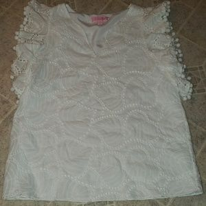 Lily Pulitzer embroidered detailed white top
